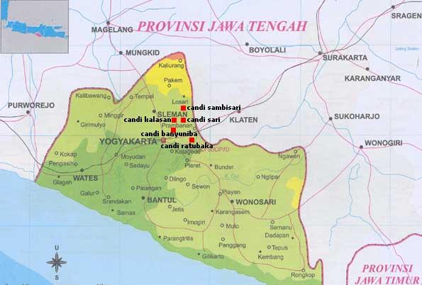 Peta candi-candi di Yogyakarta